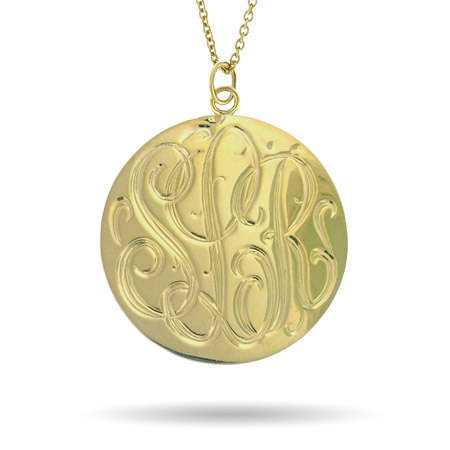 Gold Vermeil Large Monogram Tag Pendant