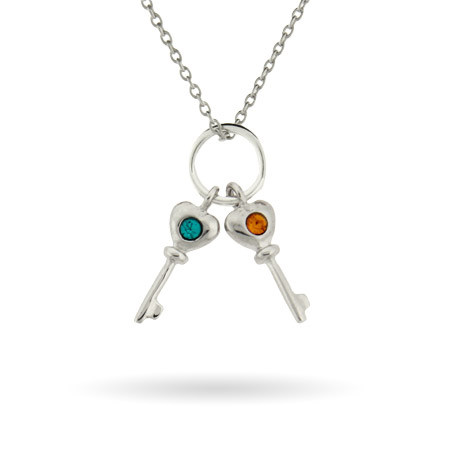 Sterling Silver Custom 2 Birthstone Key Charms Mother's Necklace