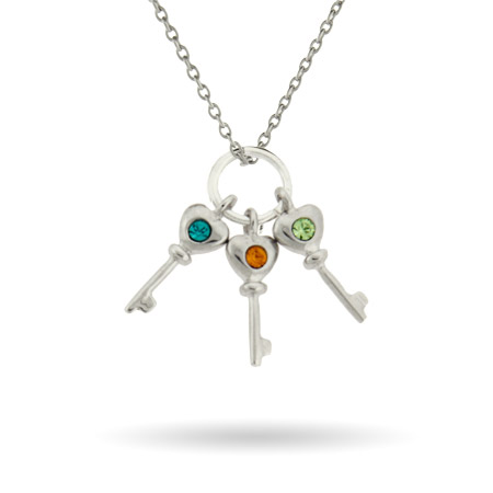 Sterling Silver Custom 3 Birthstone Key Charms Mother's Necklace