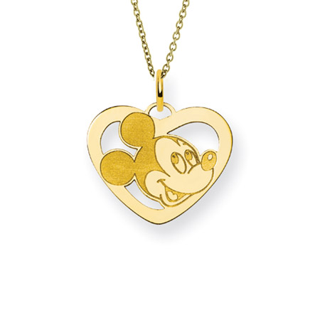 Gold Vermeil Mickey Mouse Heart Charm Pendant - Officially Licensed Disney Jewelry