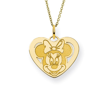 Gold Vermeil Minnie Mouse Heart Charm Pendant - Officially Licensed Disney Jewelry