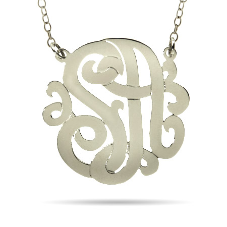Sterling Silver Large Two Initial Custom Monogram Necklace