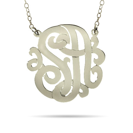 Sterling Silver Medium Two Initial Custom Monogram Necklace