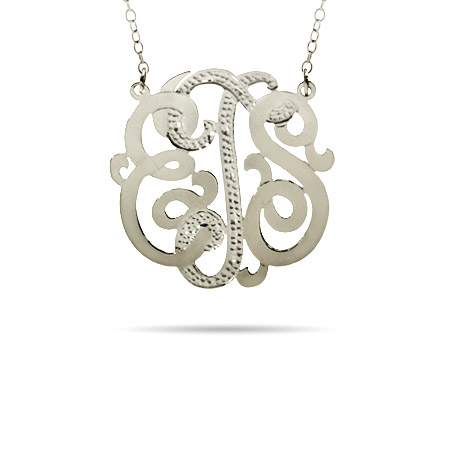 Sterling Silver Small Diamond Cut Custom Monogram Necklace