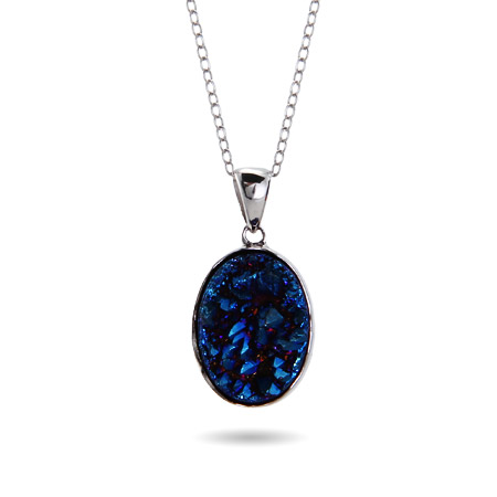 Genuine Blue Drusy Quartz Oval Pendant