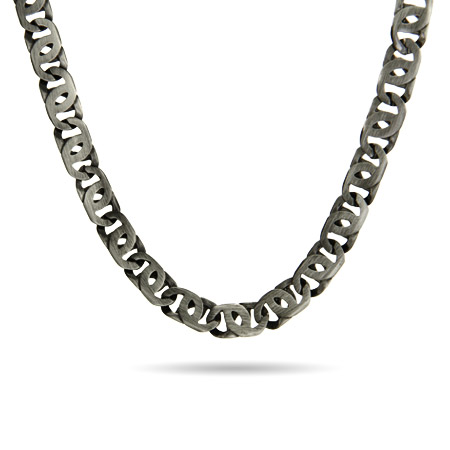Men's Stainless steel Marina Link Necklace In Brushed Finish