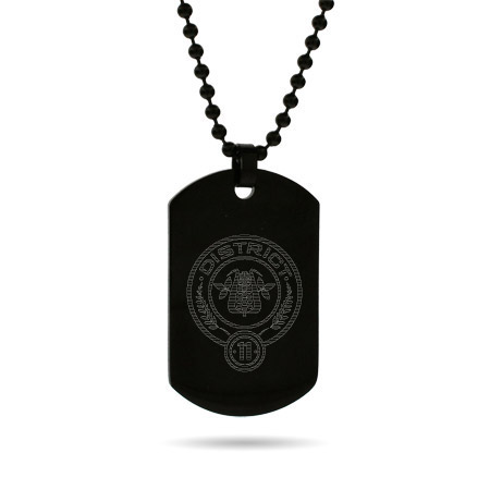 Hunger Games Inspired District 11 Engraved Black Dog Tag