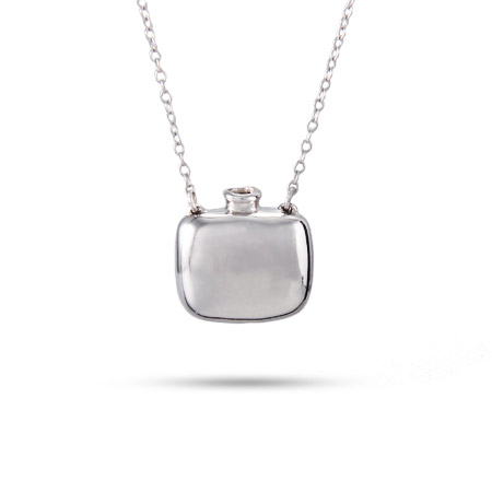 Tiffany Inspired Engravable Sterling Silver Square Bottle Pendant