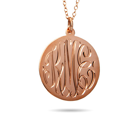 Rose Gold Vermeil Medium Monogram Tag Pendant