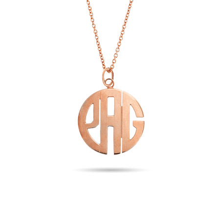 Rose Gold Vermeil Small Block Style Monogram Necklace