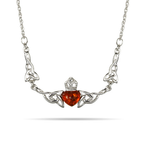 Sterling Silver Baltic Amber Celtic Knot Claddagh Necklace