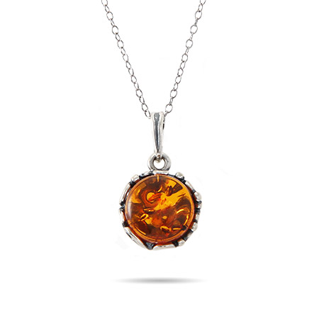 Brilliant Round Cut Baltic Amber Pendant in Ornate Silver Setting