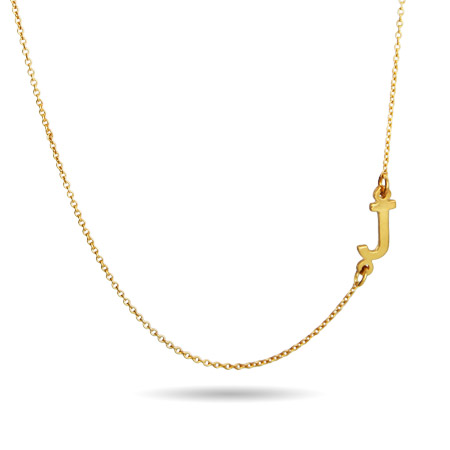 Gold Vermeil Sideways Initial Necklace