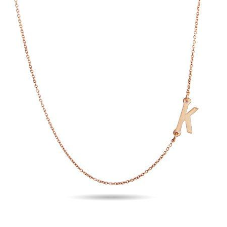Rose Gold Vermeil Sideways Initial Necklace