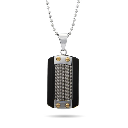 Designer Inspired Men's Cable Inlay Dog Tag
