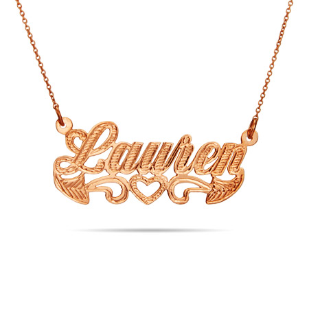 Rose Gold Vermeil Script Carved Name Plate Necklace