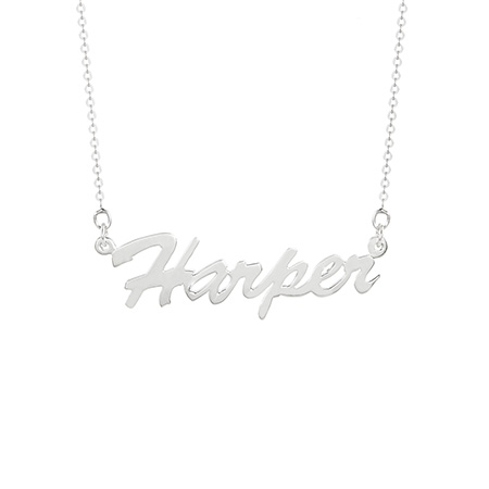 Thin Script Style Sterling Silver Nameplate Necklace