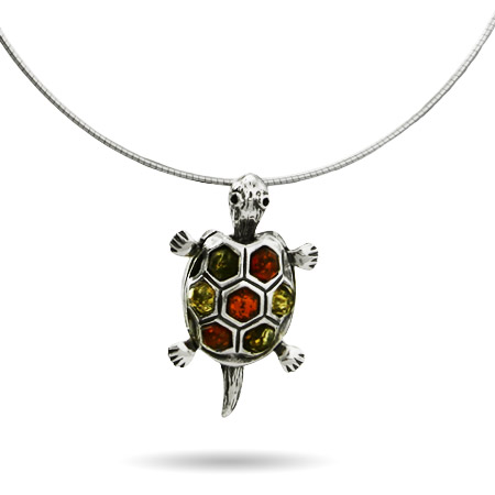 Green and Honey Amber Sterling Silver Turtle Pendant