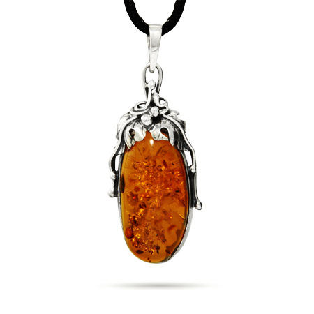Exquisite Large Honey Amber Pendant with Grape Leaf Design