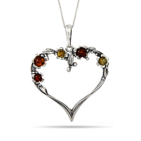 Sterling Silver Vintage Heart Pendant with Amber Accents