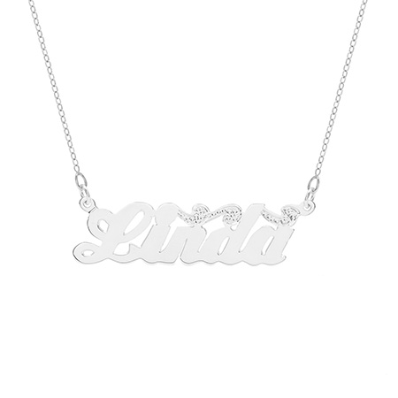 Sterling Silver Scroll Design Nameplate Necklace