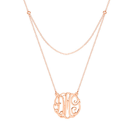 Rose Gold Vermeil Double Strand Custom Monogram Necklace