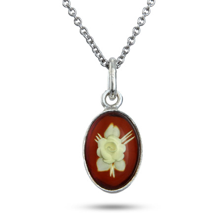 Oval Honey Amber Pendant with Intaglio Carved Rose