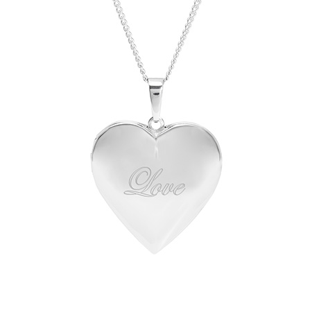 Engravable Polished Heart Photo Locket