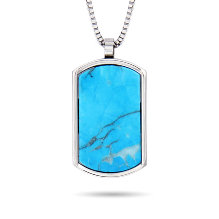 Designer Inspired Engravable Turquoise Stone Dog Tag