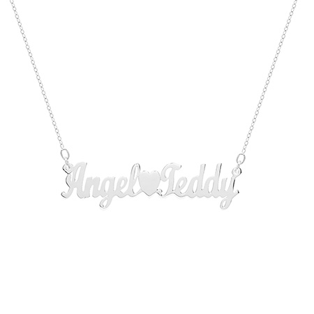 Custom Couples Sterling Silver Name Necklace