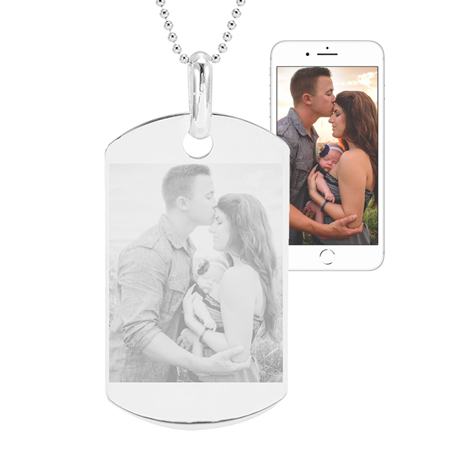 Medium Sterling Silver Dog Tag Photo Pendant
