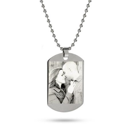 Medium Stainless Steel Dog Tag Photo Pendant