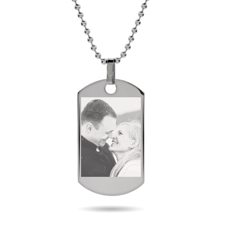 Large Stainless Steel Dog Tag Photo Pendant