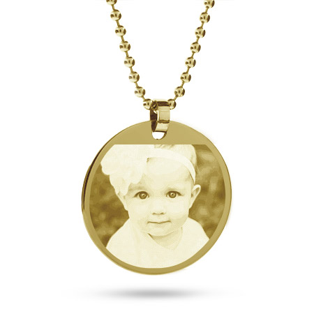 18K Gold Plated Large Round Tag Photo Pendant