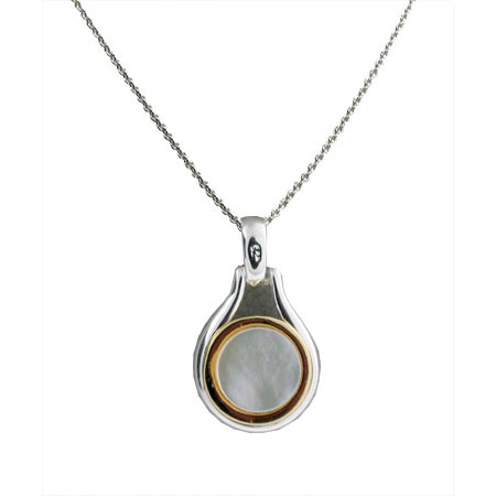 Tiffany Inspired Bezel Set Pendant in Mother of Pearl and Sterling Silver