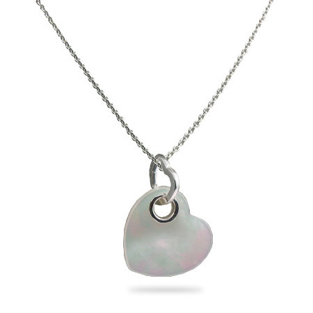 Tiffany Inspired Heart Pendant in Mother of Pearl and Silver