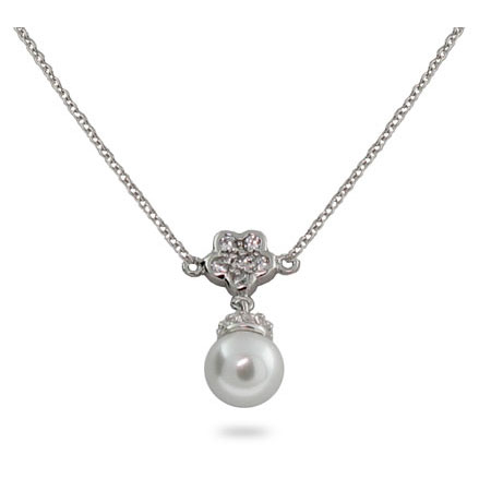 Sterling Silver Pearl Necklace with CZ Flower
