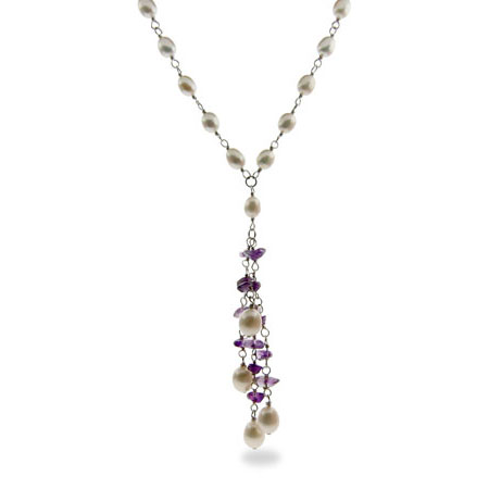 Genuine Amethyst Stone and Freshwater Pearl Necklace