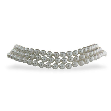 Sterling Silver White Pearl Choker Necklace