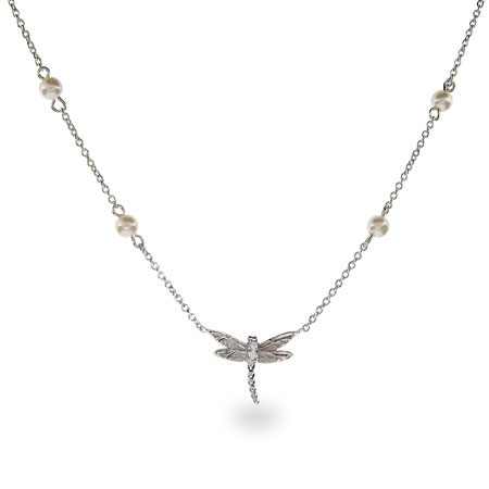 Designer Inspired Dragonfly Pendant with Pearl Chain