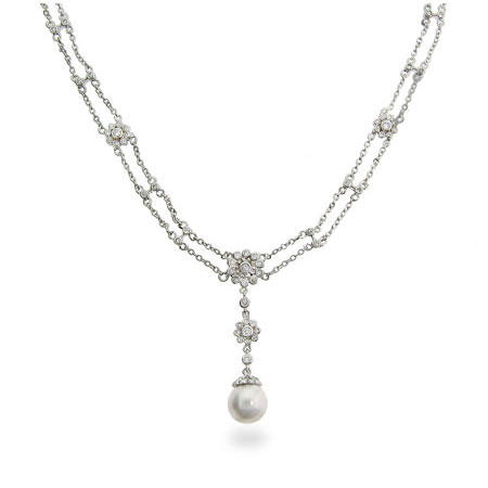 Tiffany Inspired CZ Double Drop Rose Necklace w/ Freshwater Pearl