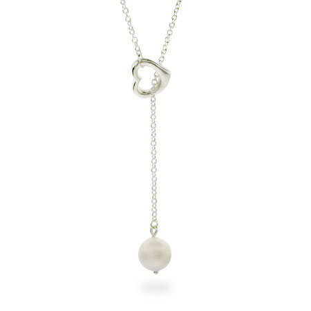 Tiffany Inspired Pearl Drop Sterling Silver Heart Lariat