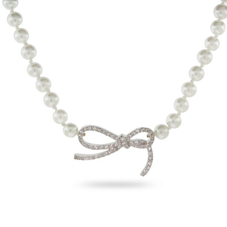 Elegant Sterling Silver Pearl Necklace with CZ Bow