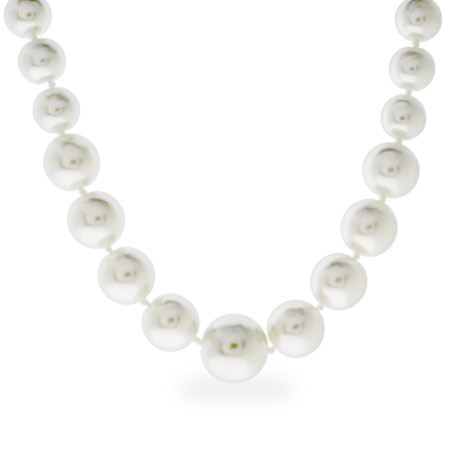 Graduated White Pearl Necklace with Sterling Silver Clasp
