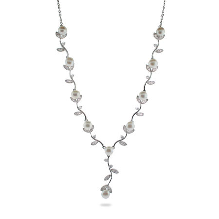 Sterling Silver CZ Vine Necklace with Freshwater Pearls