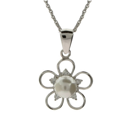 Pretty Freshwater Pearl and CZ Flower Drop Pendant