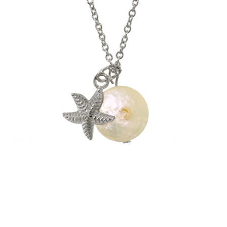Sterling Silver Sea Starfish with Freshwater Pearl Pendant