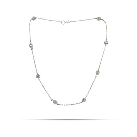 Tiffany Inspired Pearl CZ By The Yard Necklace