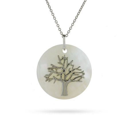 Sterling Silver Tree of Life Pendant with Mother of Pearl