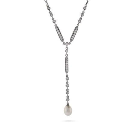 Elegant Freshwater Pearl Drop Sterling Silver & CZ Necklace